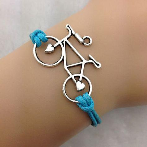 Del encanto Retro azul cordón encerado de cuero aleación de la bicicleta bici de plata hechos a mano de joyería(China (Mainland))