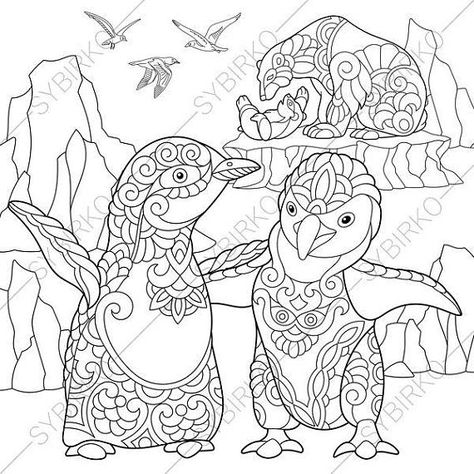Zentangle stylized penguins and polar bears. Coloring page of emperor penguins, polar bears and seagulls. freehand sketch drawing for adult antistress coloring book in zentangle style.