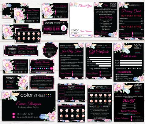 Color Street Marketing Bundle, Personalized Color Street Cards CL65 Black - 5 items / 24 hours