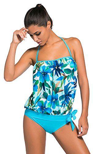 1bdc88743e00 La Vogue Ropa de Baño de Dos Piezas Tankini para Mujer Playa Top y ...