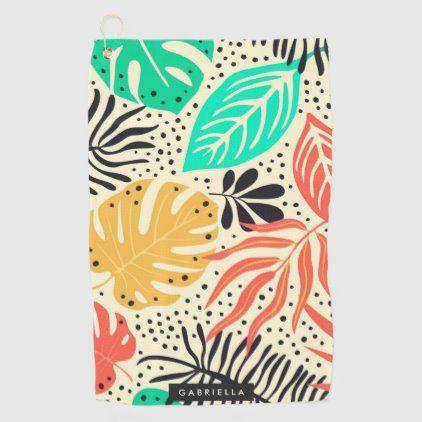 Tropical Pattern Golf Towel Tropical Pattern Square Wall Clock Custom Beach Towels