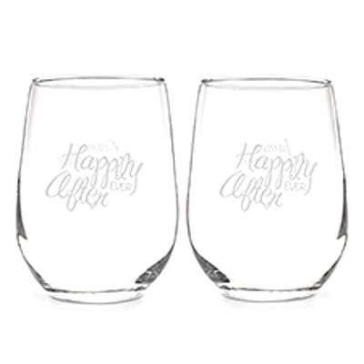 Happily Ever After Stemless Wine Glass Set Wine Glass Set Wine Glass Stemless Wine Glass