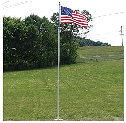 Amazon Com Super Tough Heavy Duty 20 Feet Residential Flagpole Made In The Usa Garden Outdoor In 2020 Flag Store Flag Pole Backyard Landscaping