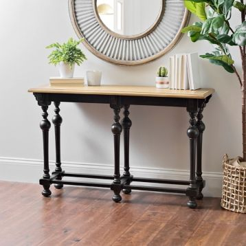 Astonishing Product Details Abigail Distressed Black Console Table 48 Bralicious Painted Fabric Chair Ideas Braliciousco