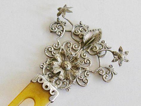 Handmade silver plated FLOWER filigree HAIR JEWELRY FORK PICK PIN new wedding