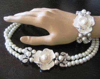 Verrassend Bruids sieraden SET (2 items) Ivory Swarovski parels ketting en KJ-31