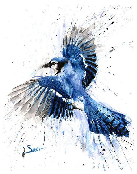 Blue Jay Painting Watercolor Blue Jay Print Blue Jay Art Etsy