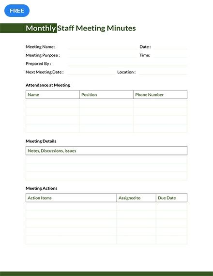 Monthly Staff Meeting Minutes Template Free Pdf Google Docs Word Apple Pages Template Net Staff Meetings Meeting Words - ms word minutes template