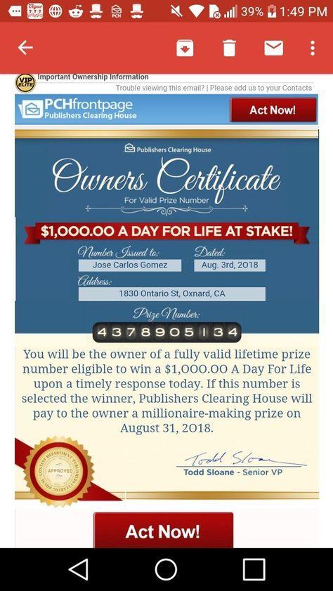 I jcg of oxnard ca comfirm & claim pch com owner's certificate for