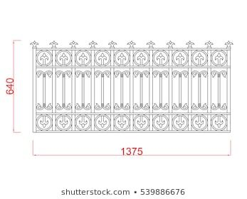 Railing Vector Image Black Paint With Dimension On White