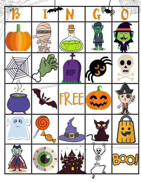 This Free Halloween Printable Bingo Board will be so much fun for your kids to play while they count down the days until Halloween. Halloween Bingo Cards, Halloween Worksheets, Theme Halloween, Halloween Activities For Kids, Halloween Printable, Halloween Games, Halloween Birthday, Holidays Halloween, Halloween Kids