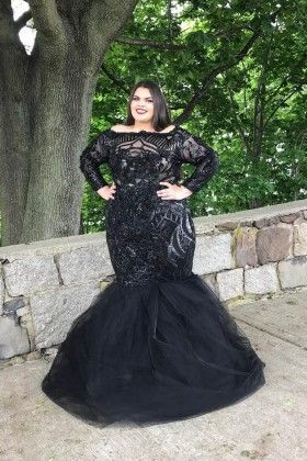 Plus Size Black Sequin And Tulle Long Sleeve Off The Shoulder Trumpet Prom Dress Plus Size Prom Dresses Prom Dresses With Sleeves Plus Size Prom