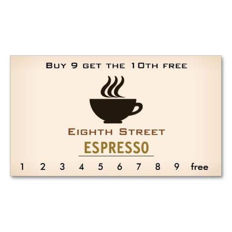 Espresso Coffee Loyalty Card Cafe Business Cards Loyalty Card Design Loyalty Card