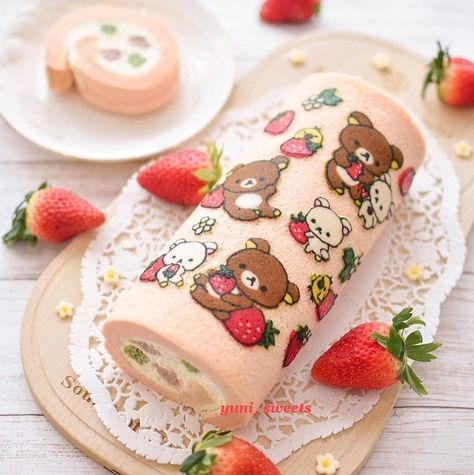 Image may contain: dessert and food Cute Snacks, Cute Desserts, Delicious Desserts, Dessert Recipes, Yummy Food, Pretty Cakes, Cute Cakes, Rilakkuma Cake, Swiss Roll Cakes
