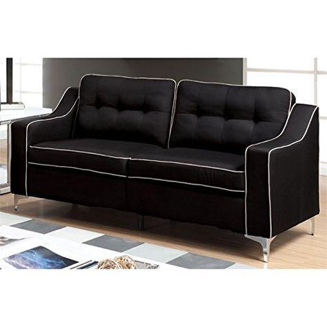 Furniture Of America Pelham Contemporary Sofa In Black Furniture