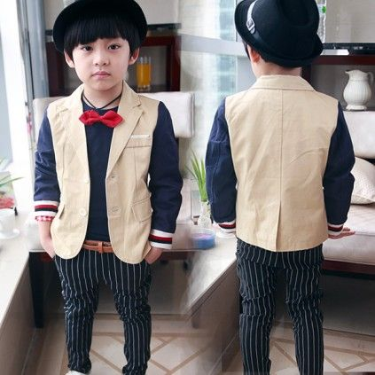 eca0455ee Stylish and Smart Formal Beige Coat for Boys in India with Dark Blue ...