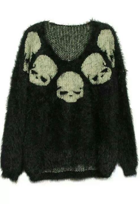 To find out about the Black Long Sleeve Skull Embroidery Mohair Sweater at SHEIN, part of our latest Sweaters ready to shop online today! Indie Outfits, Cool Outfits, Fashion Outfits, Scene Outfits, Punk Outfits, 2000s Fashion, Swag Outfits, Grunge Outfits, Alternative Outfits