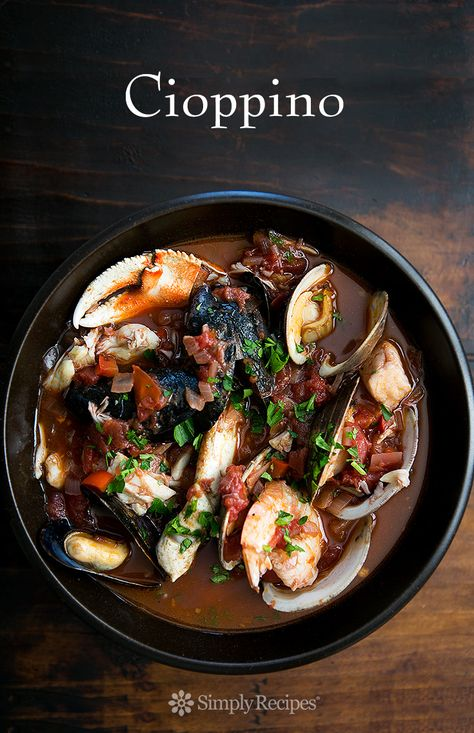 Cioppino ~ San Francisco-style cioppino Italian fish stew, with fresh halibut, sea bass, Dungeness crab, shrimp, clams, mussels, and oysters in a savory tomato-based broth. #paleo #lowcarb #glutenfree ~SimplyRecipes.com