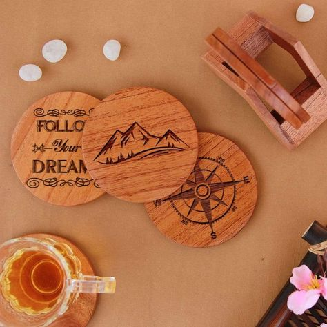 Travel Coasters - Wooden Coaster Set With Holder - Birch