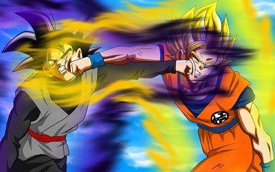 Telecharger Fonds D Ecran Goku Noir Vs Goku Ssj3 Dbs Dragon Ball Combat Dragon Ball Super Goku Besthqwallpapers Com Goku Noir Goku Ssj3 Dragon Ball Super