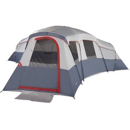 Ozark Trail 20 Person 4 Room Cabin Tent With 3 Separate Entrances For Camping Gray And Red Walmart Com Cabin Tent 20 Person Tent Best Tents For Camping