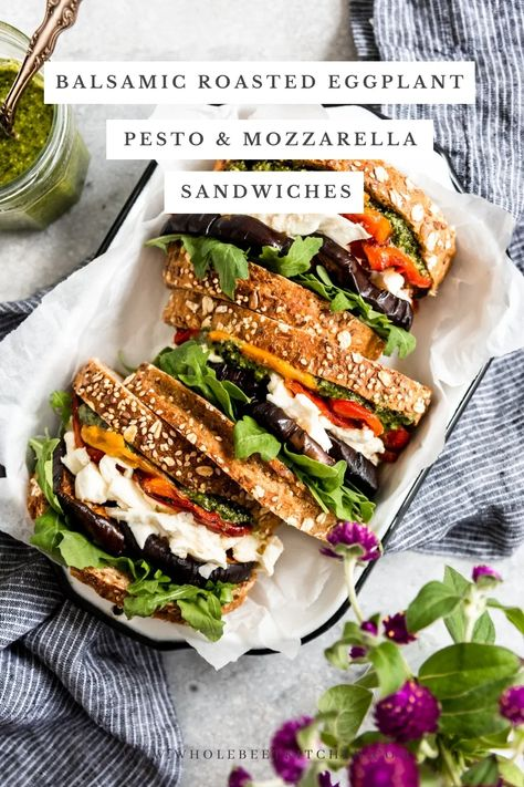 The best Balsamic Roasted Eggplant, Pesto & Mozzarella Sandwiches with roasted bell peppers & arugula are a quick, easy & so delicious! #vegetariansandwich #sandwich #homemadepesto #eggplantsandwich #eggplantrecipe #sandwich