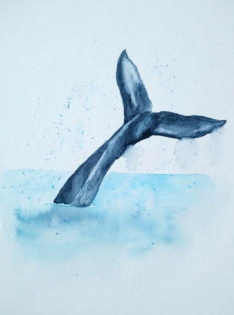 Une Queue De Baleine A L Aquarelle Aquarelle Peinture Aquarelle