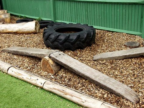 Natural Woodland School Playground wooden play equipment - simple balance beam