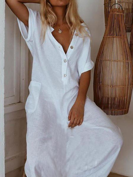 Short Sleeve Casual Dresses-linenlooks    This white casual dress is popular with women to wear in summer.  maxi dress casual,linen maxi dress  #linenmaxidresssummer #linenmaxidress