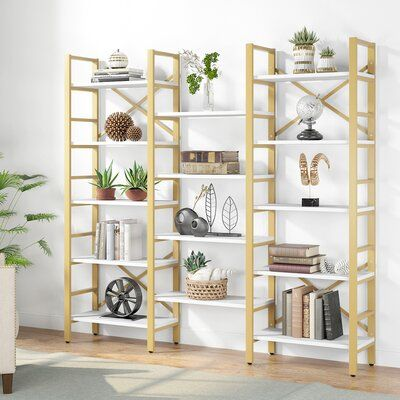 Everly Quinn Newby 70 68 H X 67 71 W Standard Bookcase In 2021 Metal Bookcase Etagere Bookcase Open Bookshelves