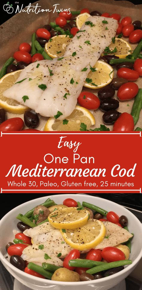 Easy One Pan Mediterranean Cod. This healthy, satisfying weight loss recipe is an anti-inflammatory recipe that keeps you feeling full but also light, so it's perfect for fueling your flat-belly workout routine. It's a beginner fish recipe that works with halibut or any white fish. The cool thing is that this cooking technique won't stink up the house and it's easy to clean up after! #glutenfreerecipe #dairyfreerecipe #keto #paleorecipe #Whole30recipe For MORE RECIPES, fitness  nutrition tips