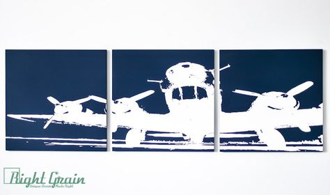 Personalized Airplane Painting Wall Art On 3 Panels By Rightgrain 75 00 Airplane Painting Plane Wall Art Wall Painting