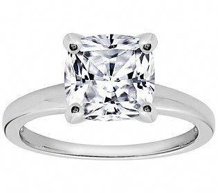 Diamonique Cushion 100 Facet Solitaire Ring Platinum Clad Solitairerings Half Carat Engagement Rings Engagement Ring Sizes Original Engagement Rings
