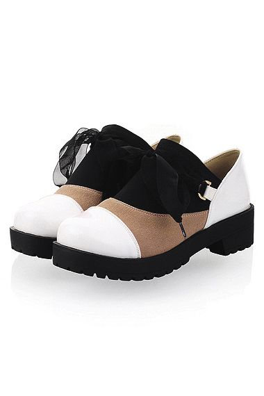 Fashion Round Assorted Color Lacing Single Shoes