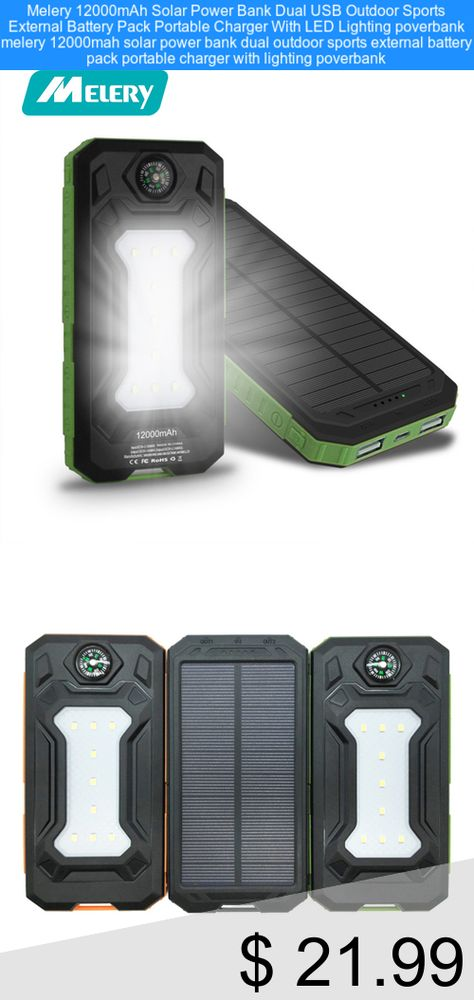Only 21 99 Melery 12000mah Solar Power Bank Dual Usb Outdoor Sports External Battery Pack Portable C External Battery Pack Solar Power Bank Portable Charger