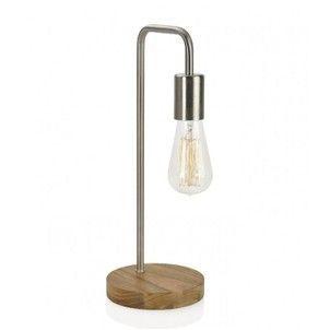 Lampe A Poser Courbee Design En Bois Et Nickel Wadiga Lampe De