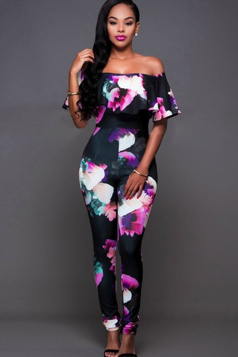68bb4f06753f Black Printed Off Shoulder Ruffled Sexy Jumpsuit