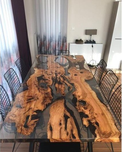 35 Unbelievable Wood And Epoxy Dining Tables Slab Dining Tables Wood Table Design Rustic Dining Furniture