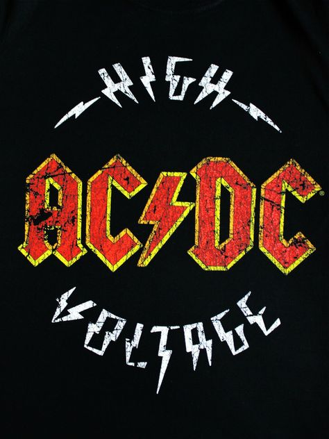 High Voltage Official Hard Rock and Roll Music Black Mens T-shirt