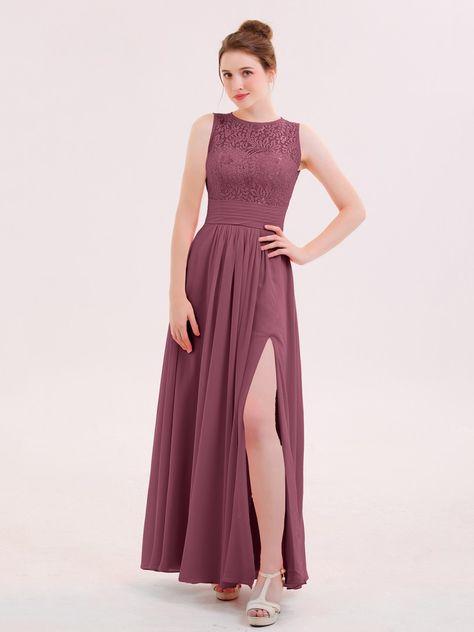 df022f1b85a34 Watermelon Dione Illusin Neck Lace and CHIffon Dress with Slit | BABARONI