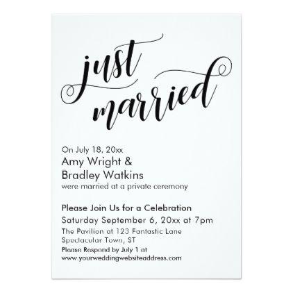 Just Married Fancy Script Post Wedding Celebration
