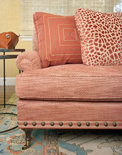 Small Pattern On The Sofa. Large Print Pillows. Color continues in the rug. // emilyaclark