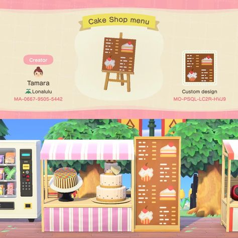 Animal Crossing Qr, Animal Crossing Villagers, Menu Design, Sign Design, Motif Acnl, Library Book Displays, Motifs Animal, Cake Shop, Shop Signs