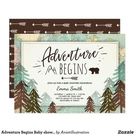 Shop Adventure Begins Baby shower invitation Travel map created by Anietillustration.
