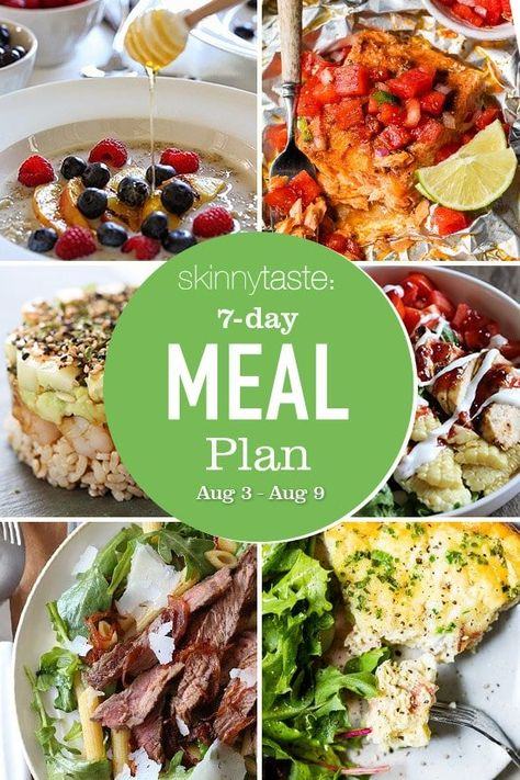 A free 7-day, flexible weight loss meal plan including breakfast, lunch and dinner and a shopping list. All recipes include calories and updated WW Smart Points. 7-Day Healthy Meal Plan Who loves salads? I do, I do! What are some of you favorite go to salads? Some of mine include my  Cobb Salad In a […] The post 7 Day Healthy Meal Plan (Aug 3-9) appeared first on Skinnytaste.