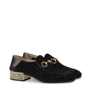 99b6b77c7c6 Horsebit GG velvet loafer with crystals
