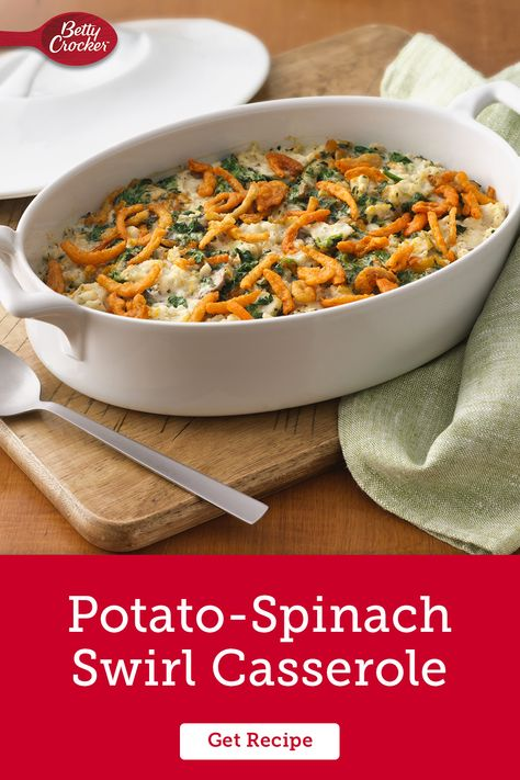 When you serve up side dishes like mashed potato spinach casserole, you're making vegetables the table-favorite. Betty Crocker Homestyle Creamy Butter and Herb Mashed Potatoes help you skip a few steps while you turn spinach into a comfort meal. Add this to your casserole board for easy solves for picky eaters.