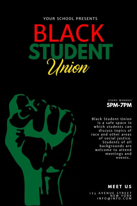Black Student Union Flyer Design Template In 2021 Black History Month Posters Black History Month Black History