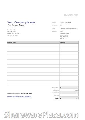 Free Blank Invoice Form Free invoice template-Sample invoice - excel invoice templates free download