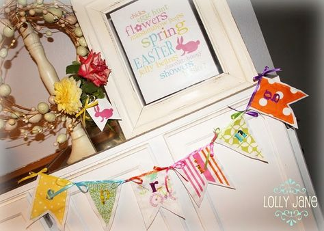 Easter free printable and Fabric Spring banner